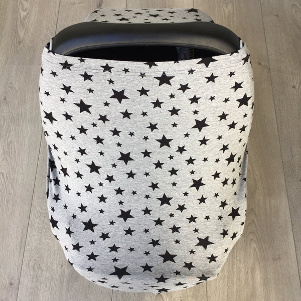 NuMoo baby cover - grey and black star