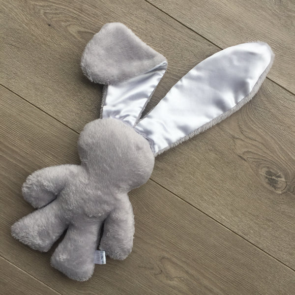 Grey and white satin ears Snuggle Bunny
