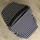 NuMoo baby cover - navy and white stripe