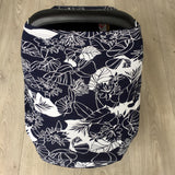 NuMoo baby cover - navy and white floral