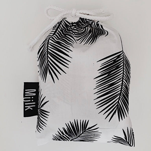 Black and White Palm Leaf Muslin