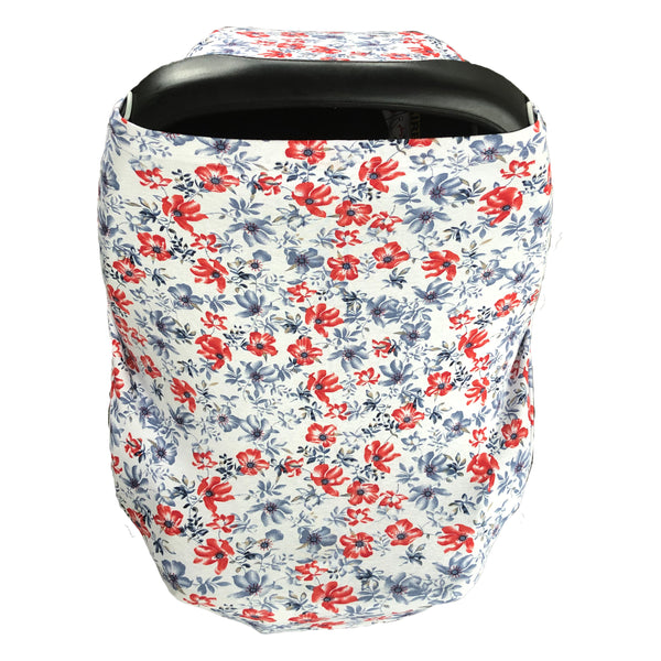 Navy and Red Floral Baby Cover