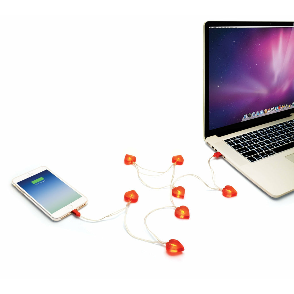 IS Gifts Mobile Phone Accessories Light Up Heart Charging Cable - 1mtr 838310038464 tween and teen