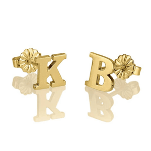 OneNecklace Jewelry Gold Letter Stud Earrings tween and teen