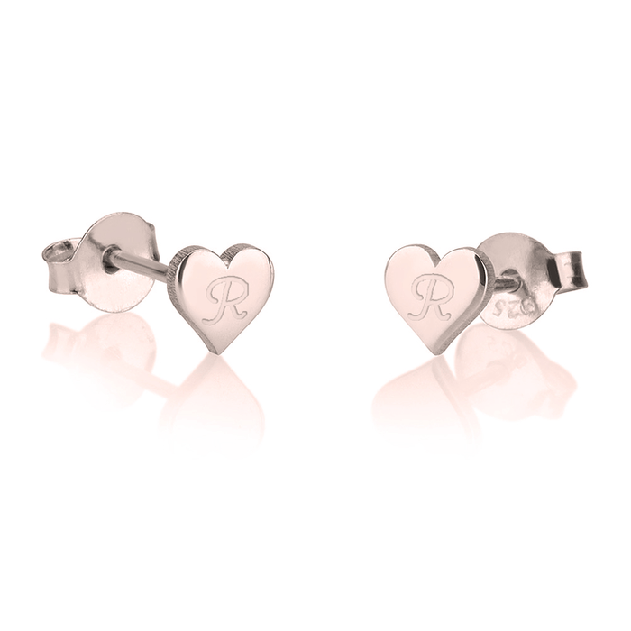 Dainty Heart Initial Earrings