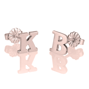 OneNecklace Jewelry Rose Gold Letter Stud Earrings tween and teen