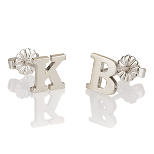 OneNecklace Jewelry Silver Letter Stud Earrings tween and teen