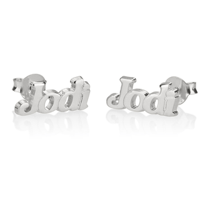 OneNecklace Jewelry Silver Name Stud Earrings tween and teen