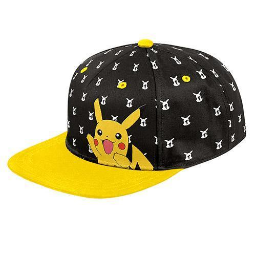 Pokemon Hats Pikachu Black Flat Peak Cap 9314783514427 tween and teen