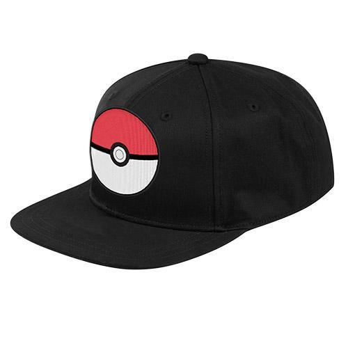 Pokemon Hats Poke Ball Black Flat Peak Cap 9314783531158 tween and teen