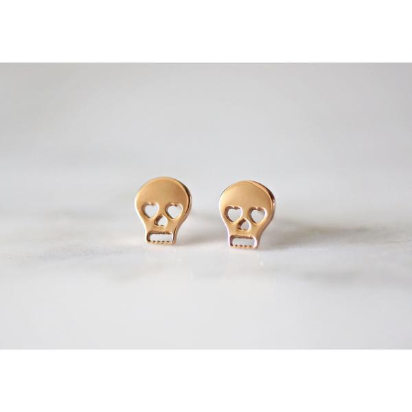 Rabbits Fantasy World Earrings Gold Skull Stud Earrings 0720252999296 tween and teen