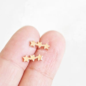 Rabbits Fantasy World Earrings Gold Triple Star Stud Earrings 0720252999166 tween and teen