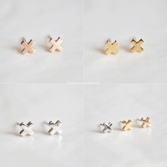 Rabbits Fantasy World Earrings Rose Gold Cross Stud Earrings 0720252999784 tween and teen