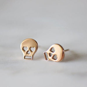 Rabbits Fantasy World Earrings Rose Gold Skull Stud Earrings 0720252999302 tween and teen