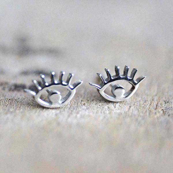 Rabbits Fantasy World Earrings Silver Eye Stud Earrings 0720252999654 tween and teen