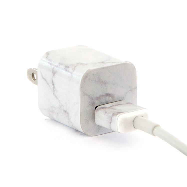 Tech Tattz Accessories White Marble Skins for iPhone Chargers 0720252999401 tween and teen