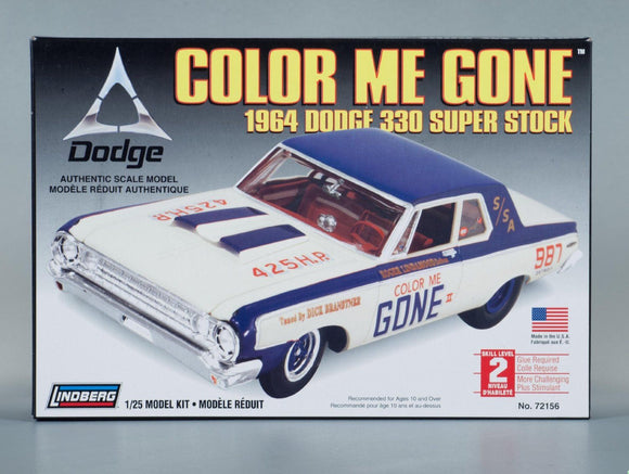 Lindberg 1/25 'Color Me Gone' 1964 Dodge 330 Super Stock Model Kit (Vintage)