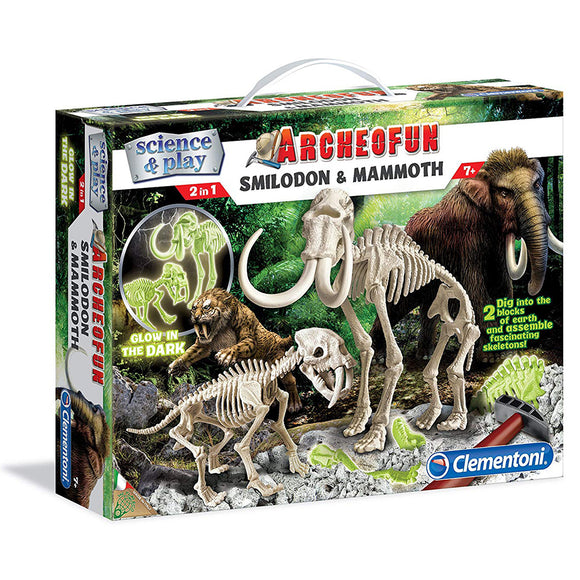 Clementoni - Archeofun Smilodon & Mammoth Fossil (Glow in the Dark)
