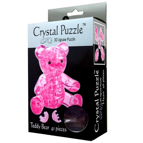3D Pink Teddy Bear Crystal Puzzle