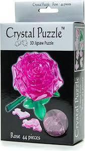 3D Pink Rose Crystal Puzzle
