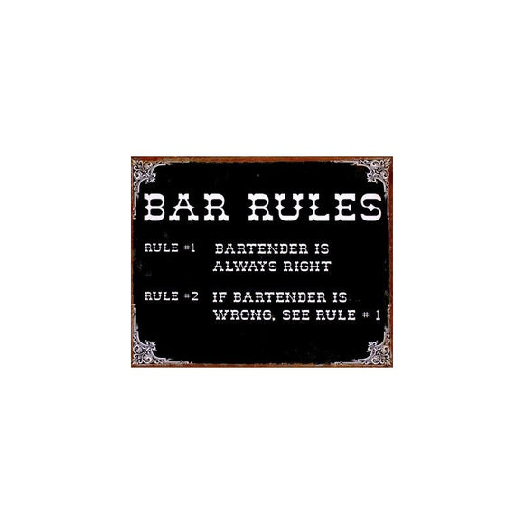 Tin Sign - Bar Rules