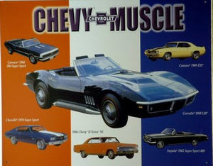 Tin Sign - Chevy Muscle Cars