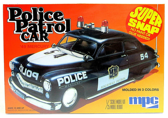 1949-1950 Mercury Police Patrol Car Super Snap 1/25 (Vintage MPC tooling) Plastic Model Kit
