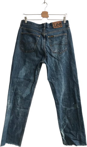 Denim Blue Denim Lee Straight Fit Jeans Cut-off