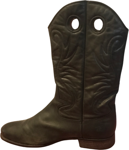 Dark Grey Leather Hugo Boss Cowboy Boots