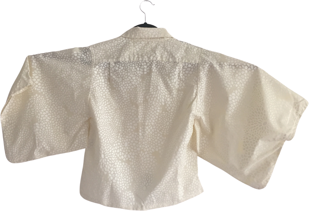 Straw Cotton / Poly Mix Vintage Blouse Sleeve Detail Minimalist Detail Size XS/S