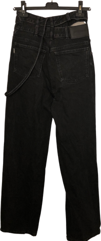 Black Cotton Ottolinger Jeans Conceptual Detail Wide Leg