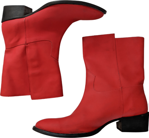Deep Red Leather Acne Studios ( Mens ) Boots Minimalist Detail