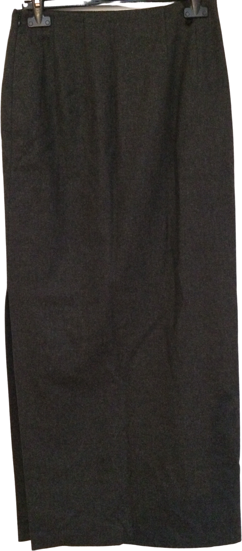 Black Wool / Acrylic Mix Vintage Maxi Skirt Slit Panel