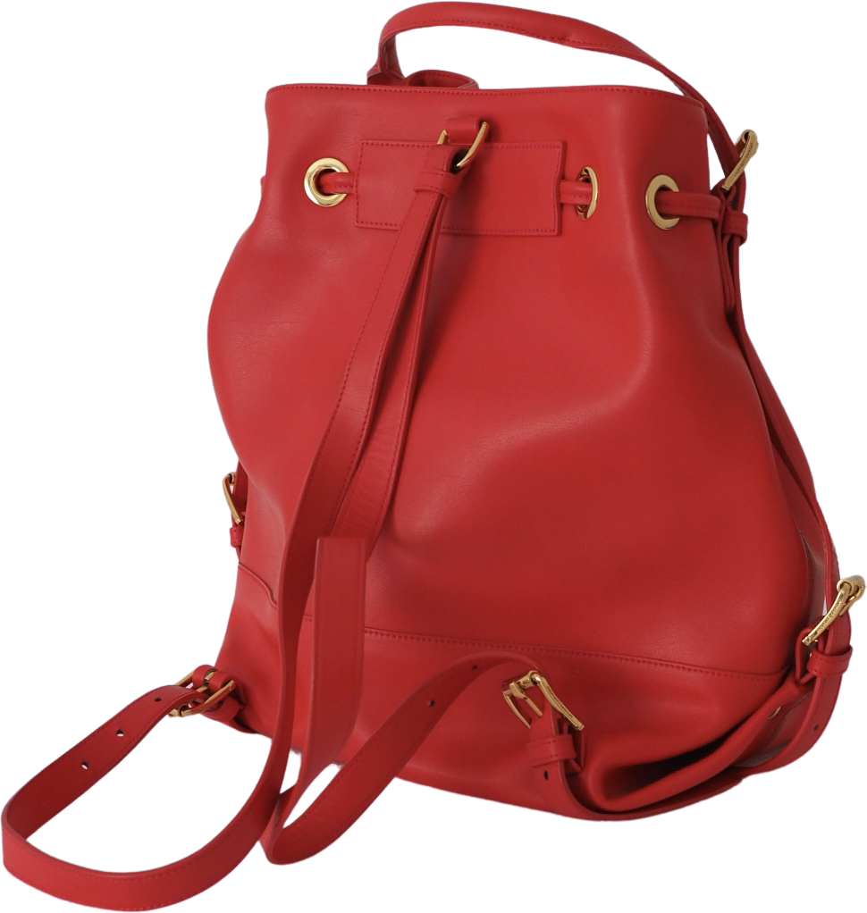 Red-Gold Leather Opening Ceremony Bucket Bag  Size Os