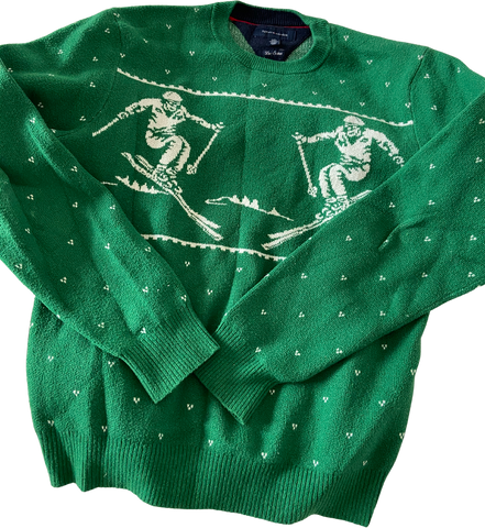 Green-White Cotton Tommy Hilfiger Sweater  Size L/XL