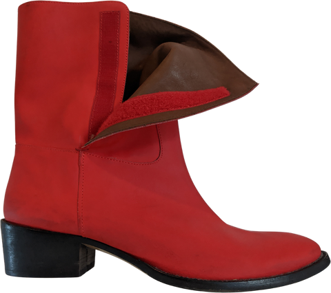 Deep Red Leather Acne Studios ( Mens ) Boots Minimalist Detail Size 45