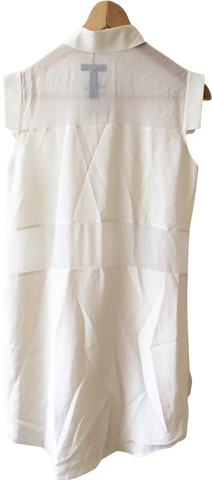 White Silk T By Alexander Wang Mini Dress Minimalist Detail Sheer