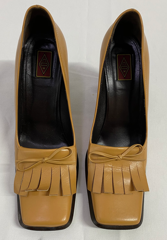 Mustard Leather Vintage Platform Pumps Square Toe Fringy