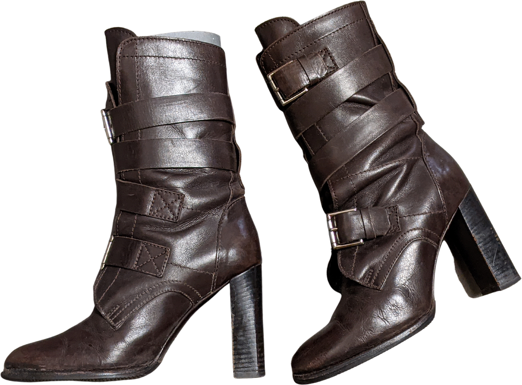 Brown Leather Céline Ankle Boot Heels Buckled