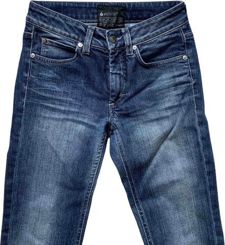 Dark Blue Cotton Mix Acne Action Jeans Straight Fit Jeans Cut-off