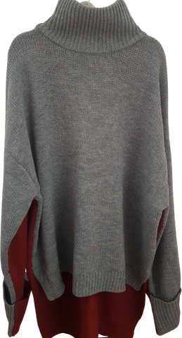Grey-Deep Red Acrylic UEMO Sweater Front Short Back Long Conceptual Detail Size M/L