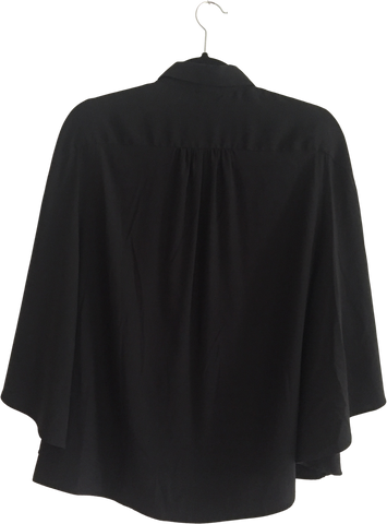 Black Silk Rag And Bone Blouse Sleeve Detail Pleated Size XS/S