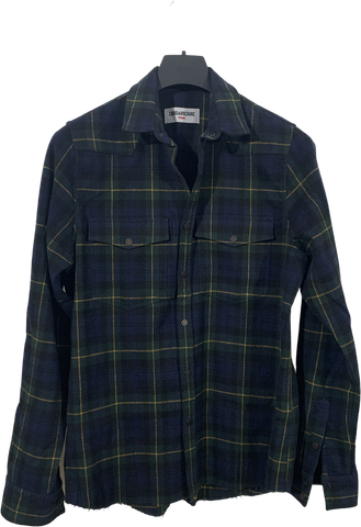 Navy Cotton Zadig & Voltaire Flannel Shirt Raw Hem