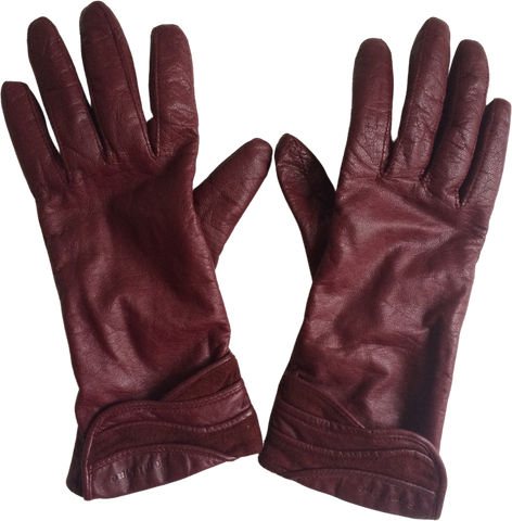 Ox Blood Leather Vintage Gloves