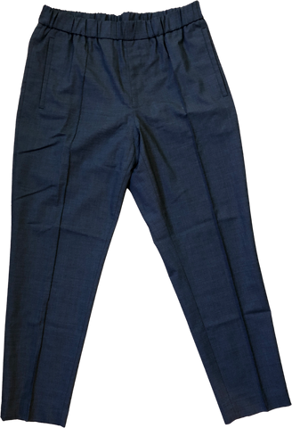 Midnight Blue Wool / Polyester Mix COS Trousers Stretch Waist