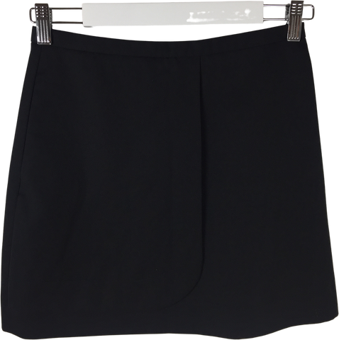 Black Wool COS Mini Skirt Layered