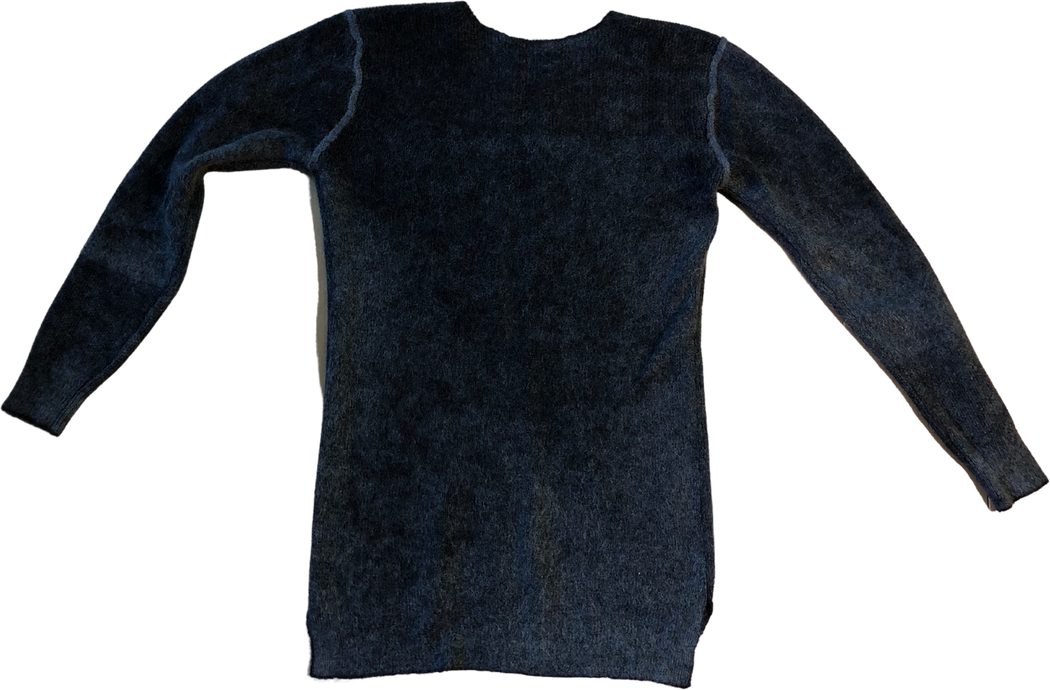 Black Wool Vintage Sweater Body-fit Stitching Detail