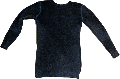 Black Wool Vintage Sweater Body-fit Stitching Detail Size L/XL