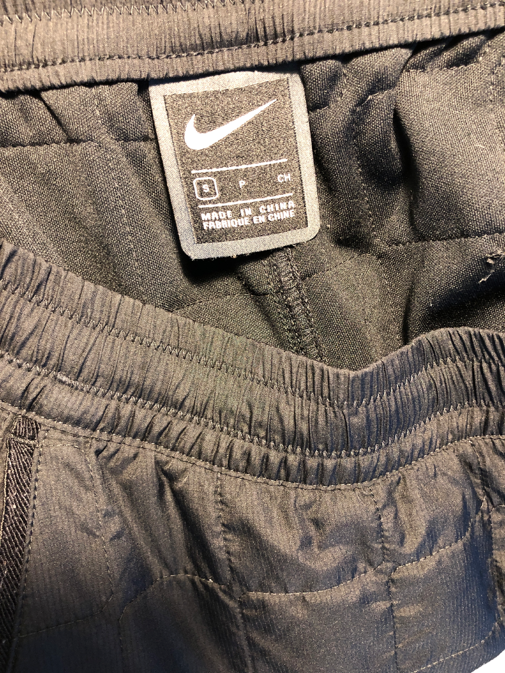 Black Polyester Modern Nike Apparel Trousers Conceptual Detail Pleated Size 30