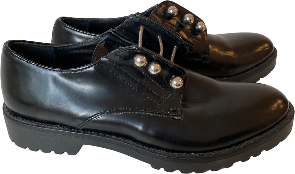 Black Leather Vintage Oxfords Conceptual Detail Size 35